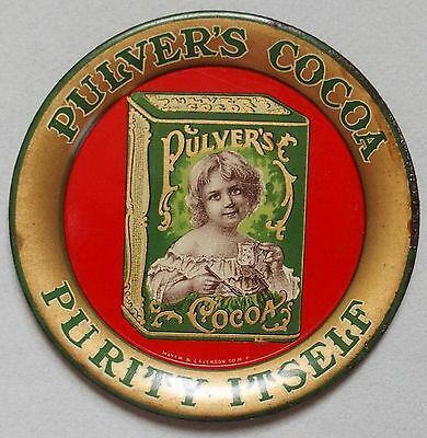 Fantastic Pulver's Cocoa Tin Advertising Tip Tray Beautiful Victorian Girl Mint