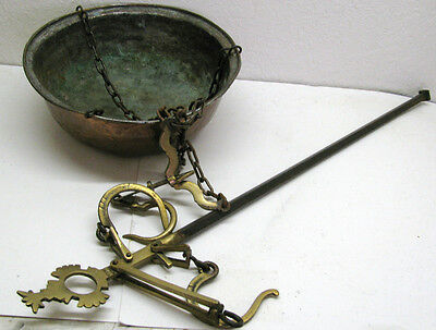 Stunning Huge Antique Hammered Copper Pan Bowl Cast Iron Balance Scale Weight