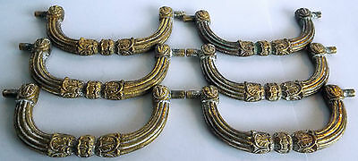 Lovely set of 6 antique Solid Brass Drawer Pulls