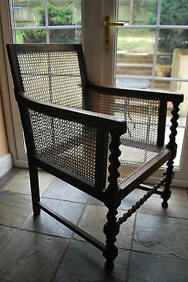 Edwardian Oak & Cane Bergere Jacobean Revival Arm Chair