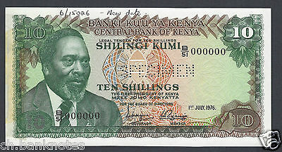 Kenya 10 Shillings 1-7-1976 P12bs Specimen Perforated  About Uncirculated