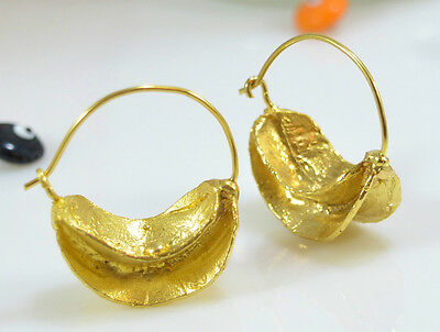 OttomanGems earrings 21ct gold plated African inspired statement hoop Handmade