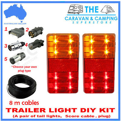 Trailer Wire Kit Light Kit Pair Of Led Trailer Lights, 1  Plug, 8M  7 Core Wire