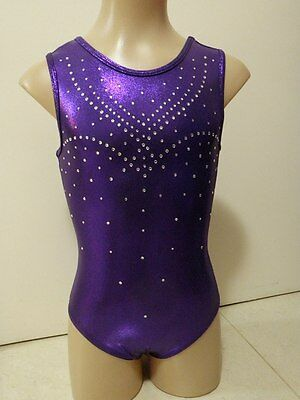NEW PURPLE SHINY FOIL W/ DIAMANTES AXS 56cm Sz 12 Gymnastics Leotard