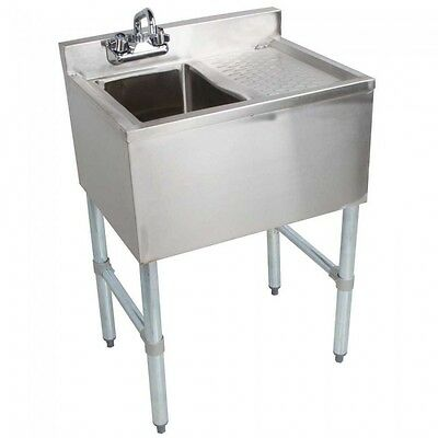 Stainless Steel Single One Compartment Bar Sink with Right Drainboard 19 x 24