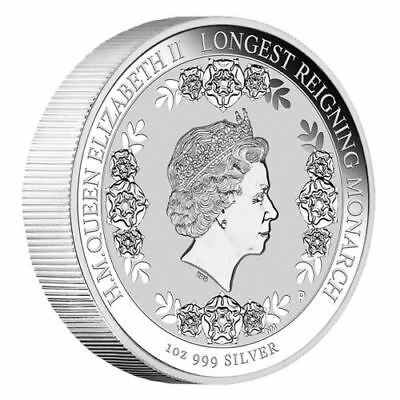 NEW Perth Mint HM QEII - The Longest Reigning Monarch 2015 1oz Pure Silver Coin