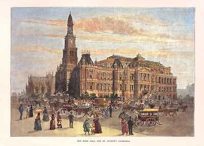Sydney Town Hall and St Andrew's Cathedral in 1886, with horse-drawn carriages