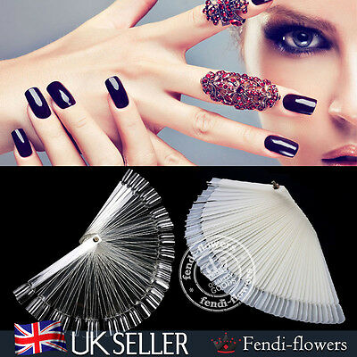 UK 100Pcs False Nail Art Tips Color Pop Sticks Display Fan Polish Practice Kit