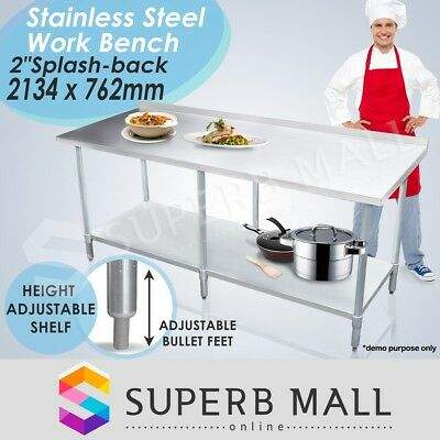 2130mmx760mm New Stainless Steel Work Bench Kitchen Food Prep Catering Table