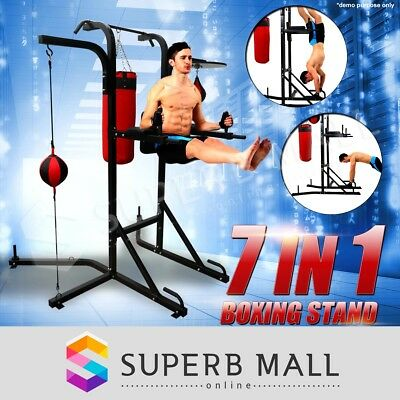 Multi Boxing Station Punching Bag Speed Ball Training Stand Power Tower Chin Up
