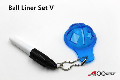 A99 Golf Ball Liner Set V Marker Alignment Tool with Chain