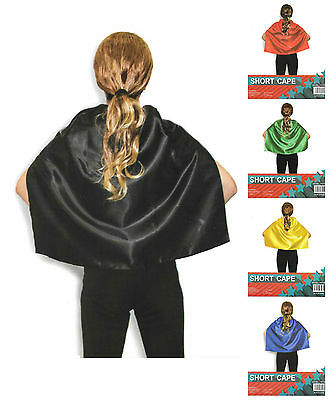 Kids Plain Colour Costume Capes School Sports Day Team Colours Superhero Cape