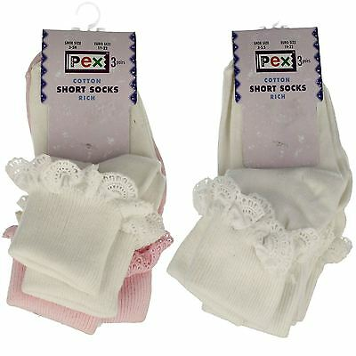 Girls PEX Cotton Rich Short Socks with Frills 3 Pairs Per Pack