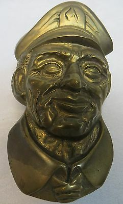 Antique Old Man w Hat Door knocker Rustic Weathered Solid Brass