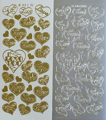 LOVE IN HEARTS PEEL OFF STICKERS I Love You Valentine Romance Cardmaking