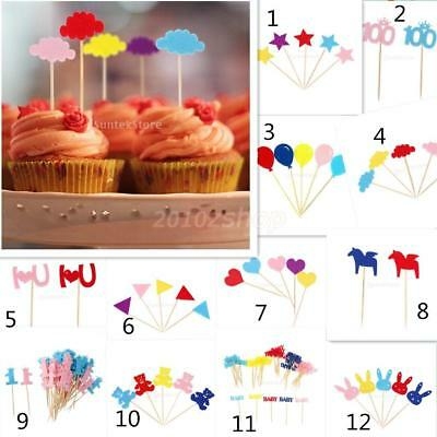 50x Cup Cake Flags Toppers Picks Kuchen Party