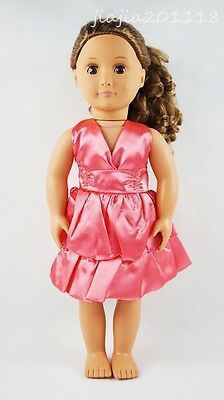 Rose Red Princess Dress Party Skirt Fit For 18''American Girl Gift Doll Clothes