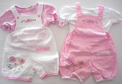 Baby Babies Clothes Girls 2 Piece Set Outfit Dungarees T Shirt Tee Top Flowers