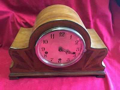 Vintage Inlaid Wooden Smiths Enfield Mantel Clock