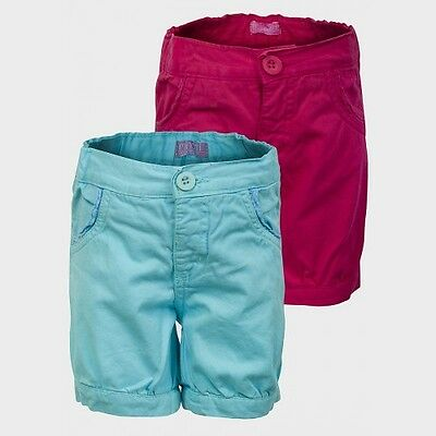 Girls Woven Shorts Cropped Trouser Cotton Size 1 Yrs to 4 Yrs Cerise & Turquoise