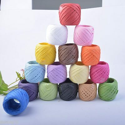 Raffia Paper Ribbon 16 Colours Decorating Flower Gift DIY Craft Scrapbooking