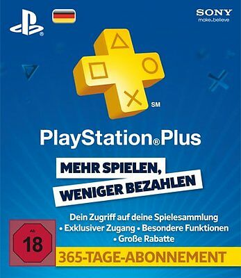 Playstation Plus Live Card 365 Tage 12 Monate Network Karte PSN PSP PS3 Code DE