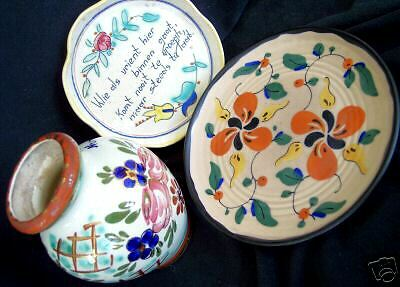 Sublime 3 pc Lot Vintage Signed Real Gouda Holland Deco Pottery Art Vase Dishes