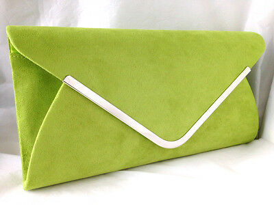 Lime Green Faux Suede Evening Day Clutch Bag Wedding Club Prom Party Silver Trim