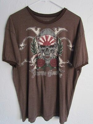 Xtreme Couture By Affliction Brown Graphic Muscle T-Shirt With Skull Size Xl Euc