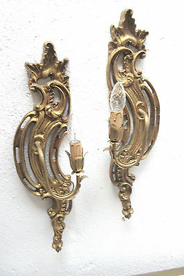 "2 Gorgeous Wallsconces Appliques France Wood Toleware 20"" long Hollywood Regency"