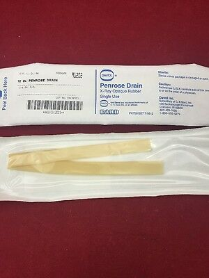 """NEW LOT OF 50 BARD Penrose Drains X-Ray Opaque Rubber 3/8""""x12"""" 91202 See Listing"""