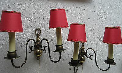 2 wallsconces old german barock style red texture lampshades very good condition