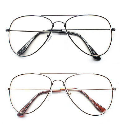 New Retro Aviator Clear Lens Glasses Vintage Classic Fashion Gold Metal Frame