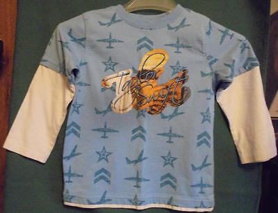 Taylor Swift Sz 5T Blue & White Layered Long Sleeve T Shirt Airplanes & Stars