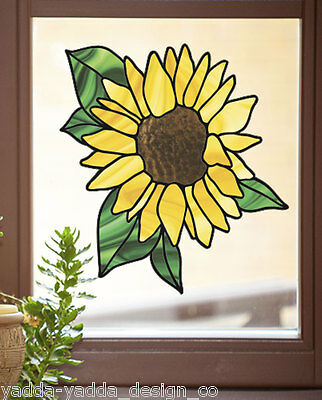 "CLR:WND - Sunflower Stained Glass Style Vinyl Window Decal ©YYDC (LG 9.5""Wx10""H)"