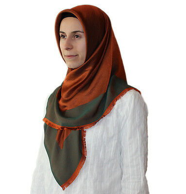 Bonjela Twill Large Turkish Square Hijab Scarf Reversible  Orange / Green