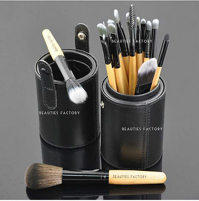18x High Quality Makeup Cosmetic Brushes Set Case Black Leather Brush Stand #820