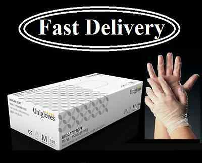 Unicare Disposable Clear Vinyl Gloves Powder Free Medical Grade Catering AQL 1.5