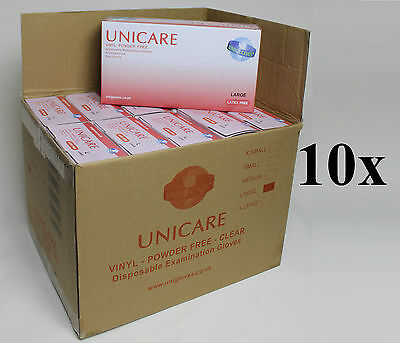 Powder Free Disposable Clear Vinyl Gloves Latex Free Medical Grade Box of 1000