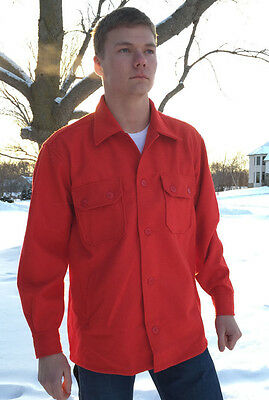 Red Wool Jac-Shirt, LARGE, w/Pockets & Silk Liner, Brand New