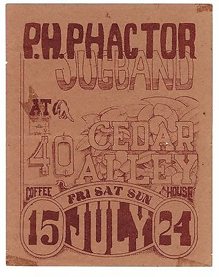 ORIGINAL RARE Handbill P.H. PHACTOR JUG BAND Cedar Alley Coffee House 1966