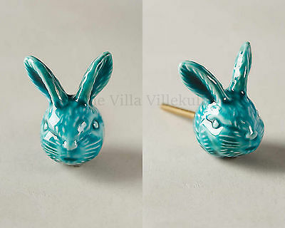 New Anthropologie Teal Rabbit Knob / Sold Out Bunny pull