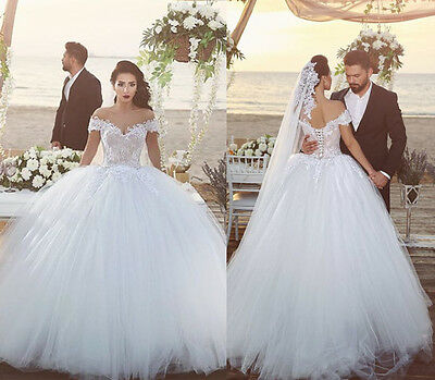 New White Ivory Lace Ball Gown Wedding Dress Bridal Gowns Size 6+8+10+12+14+16++