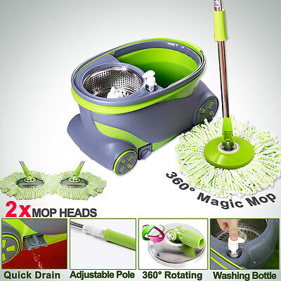 New Magic 360 Spinning Mop Wheels Spin-Dry Bucket w/2 NEW Mop Heads