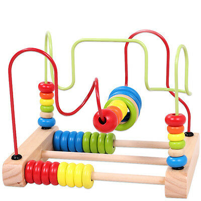 Colorful Wooden Mini Around Beads Educational Game Toys Kids Child Baby Gifts