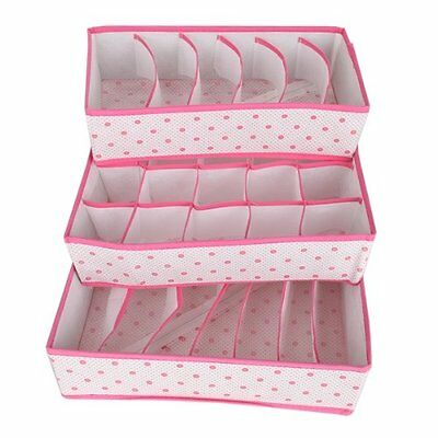 3x Divider Organizer Socks Ties Bra Lingerie Storage Box Rose Red FP5
