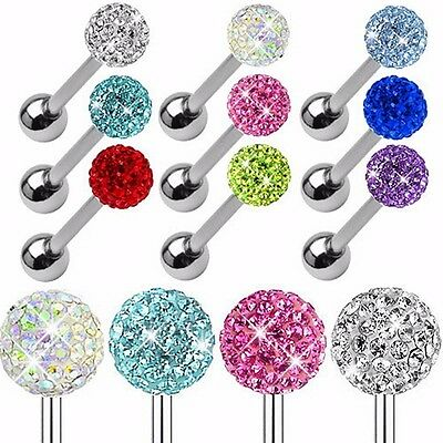 New 14G 1.6mm Surgical Steel Langue CZ Crystal Ball Barbell Tongue Ring Piercing