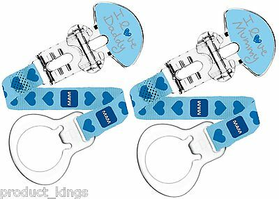 MAM I Love Mummy and Daddy Boys Dummy/Soother Clip (Pack of 2, Blue)