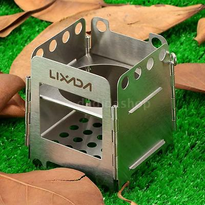 Portable Stainless Steel Foldable Wood Stove Outdoor Cooking Camping Picnic W9R7