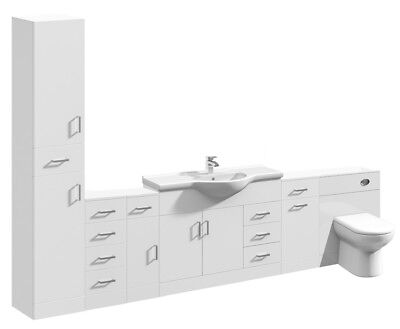 2800mm High Gloss White Bathroom Vanity Basin Cabinet Cupboards & BTW WC Toilet